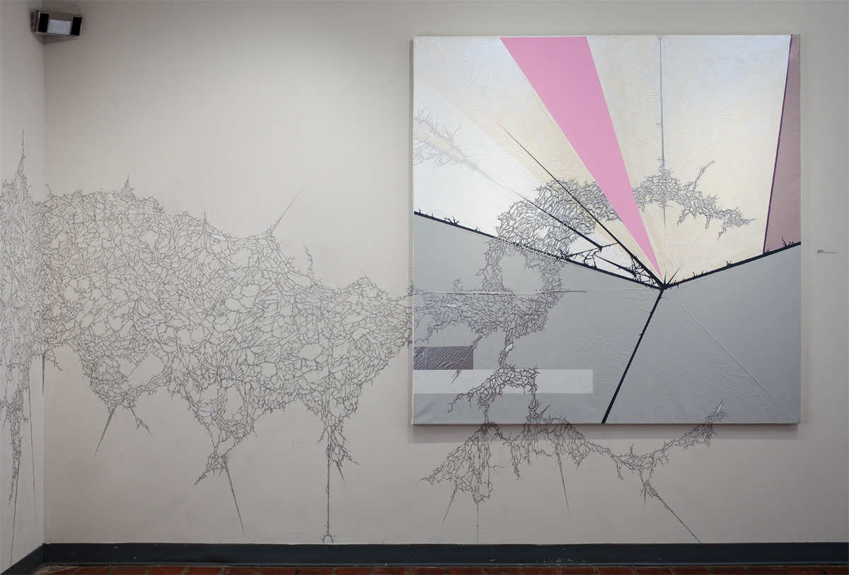 Dis/Order, Gallery Installation View, 2010, Diagram #6 (Black Beetle/Sarah Morris) 2010, gesso, acrylic, latex enamel, interference pigment, chrome paint on canvas, 72 x 72, and graphite and acrylic site specific wall drawing, dimensions variable. Photo Credit: Jason Dowdle