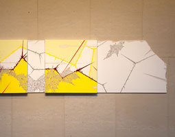 Evidence of Tudor in a Thousand Plateaus (a mashup in 3 movements), 2009, gesso, acrylic, latex enamel,pencil on canvas and drywall, 36 x 76. (Photo Credit: Scott Lawrimore)